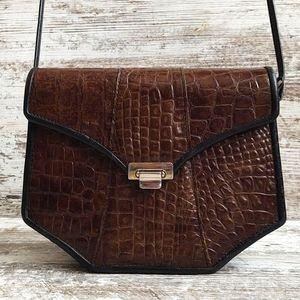 ⚄Vintage Brown Croc Leather Crossbody